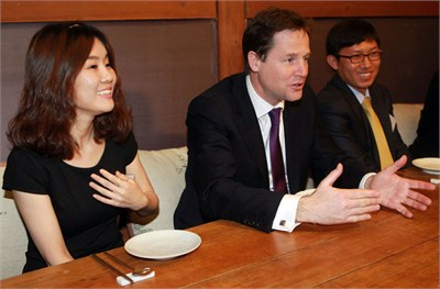 Hyeonseo Lee and Nick Clegg
